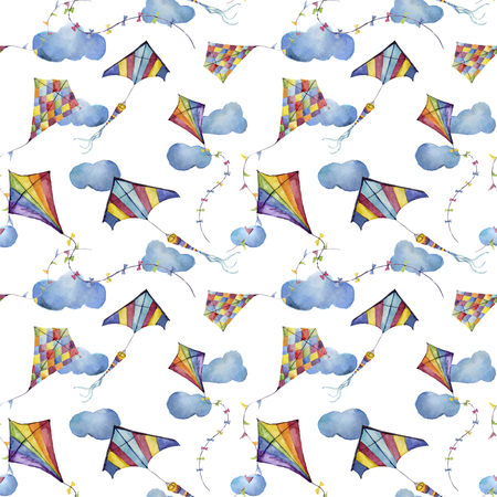 Watercolor seamless pattern with checkerboard and striped kites air. Hand drawn vintage kite with retro design. Illustrations isolated on white background for kids design, wallpaper or background.