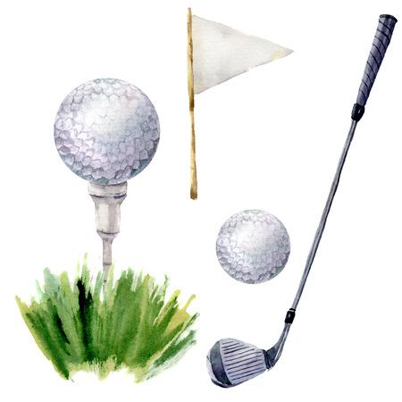 Aquarel golfelementen instellen. Golfillustratie met T-stuk, golfclub, golfbal, flagstick en gras op witte achtergrond wordt geïsoleerd die. Voor ontwerp, achtergrond of behang.