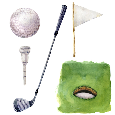 Watercolor different golf elements set. Golf illustration with Hole Course, tee, golf club, golf ball, flagstick and grass isolated on white background. For design, background or wallpaper. Imagens - 65145051