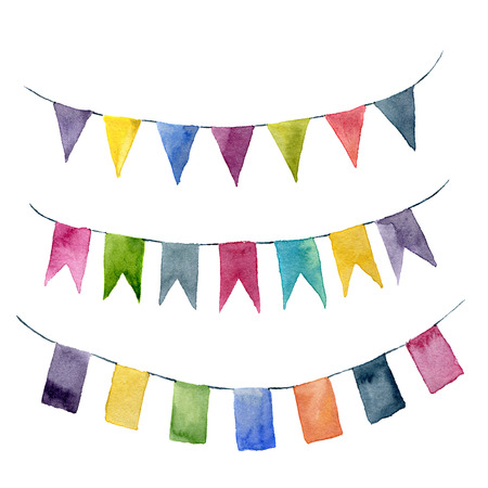siesta: Watercolor flags garlands set. Party, kids party or wedding decor elements isolated on white background. For design, prints or background.