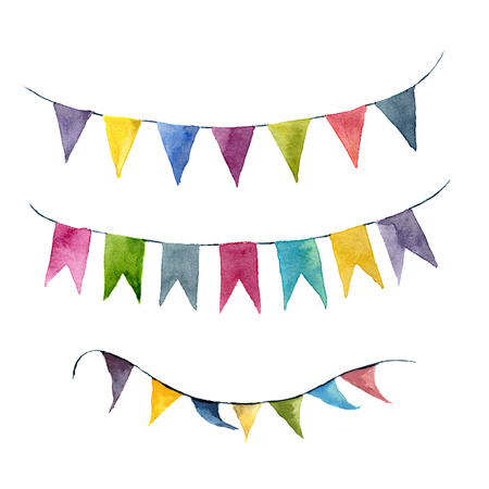 Watercolor bright color flags garlands set. Party, kids party or wedding decor elements isolated on white background. For design, prints or background.