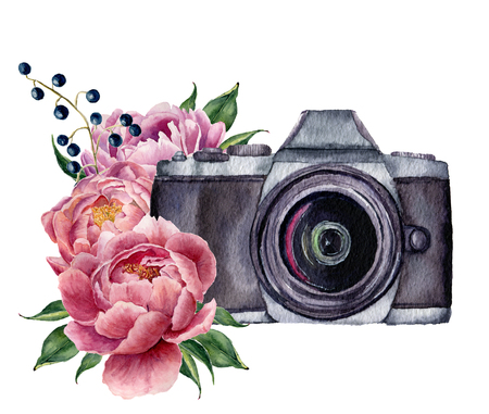 Watercolor photo label with peony flowers. Hand drawn photo camera with peonies, berries and leaves isolated on white background. For design, prints or background.