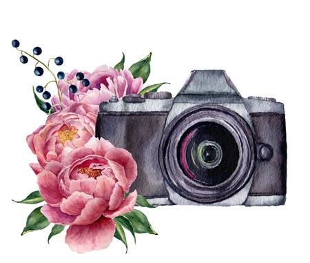 Etykieta akwarela fotografii z kwiatów piwonia. Ręcznie narysowany aparat fotograficzny z peonies, jagody i liści samodzielnie na białym tle. Do projektowania, drukowania lub tła. Zdjęcie Seryjne