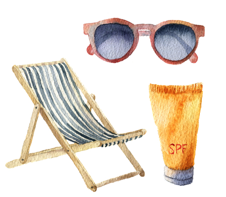 Watercolor beach suntan vacation set. Hand drawn summer objects: sunglasses, beach chair and sunblock or suntan cream. Illustrations isolated on white background. For design, textile and background