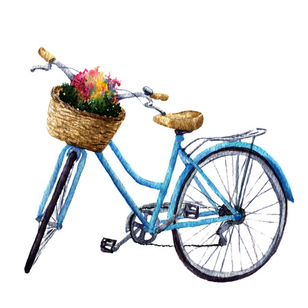 Watercolor bicycle with flowers in basket. Summer illustration isolated on white background. For design, prints or background. Stock Photo