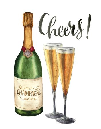 水彩ボトル シャンパン、使い捨てからす、レタリングの歓声。白い背景で隔離のメガネとスパーク リング ワインのボトル。デザイン、印刷のパー