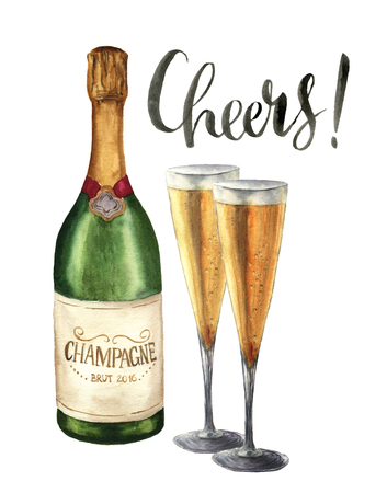 Watercolor bottle of champagne, wineglasses and cheers lettering. Bottle of sparkling wine with glasses isolated on white background. Party illustration for design, print or background Archivio Fotografico