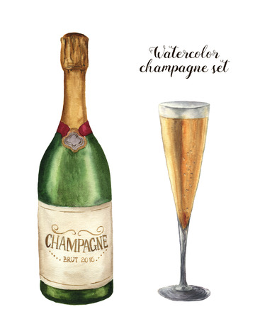 Watercolor champagne set. Bottle of sparkling wine with glass isolated on white background. Party illustration for design, print or background