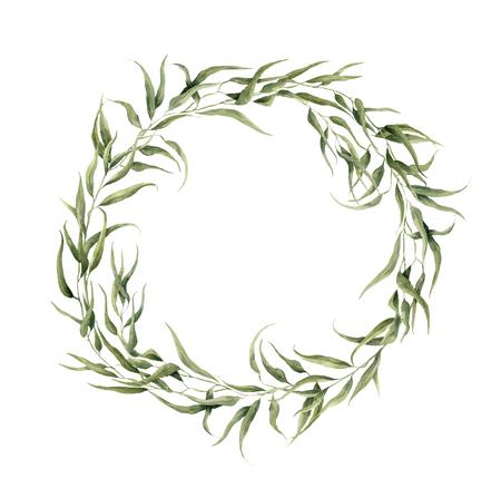 ユーカリと水彩の花の花輪を残します。手描きの枝、白い背景で隔離のユーカリの葉と花の花輪。デザインや背景。