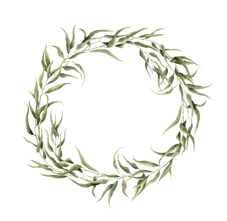Aquarell Blumenkranz mit Eukalyptusblättern. Hand bemalt Blumenkranz mit Zweigen, Blättern von Eukalyptus isoliert auf weißem Hintergrund. Für Design oder Hintergrund. Standard-Bild - 65145115