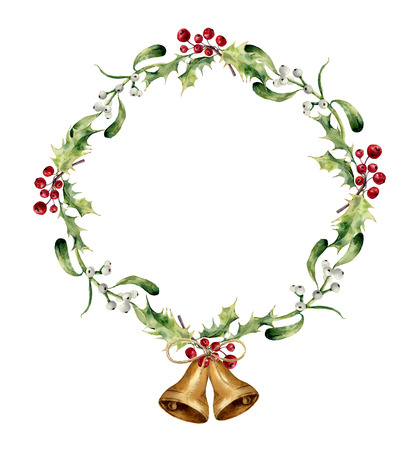 Watercolor christmas wreath with bells, holly and mistletoe. Hand painted christmas floral border isolated on white background. Botanical illustration for design.