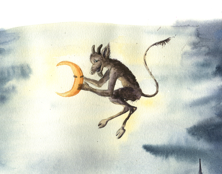 Watercolor russian christmas card with devil steals moon. Fairy tale illustration for design, print or background.