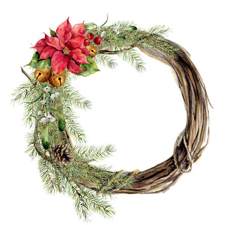 Watercolor christmas wreath with floral decor. New year tree and wood branch wreath with holly, mistletoe, bell and poinsettia for design, print or background