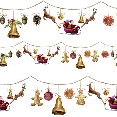 Watercolor seamless pattern with christmas garland. Bell, acorn, pine cone, Santa Claus, deers, gingerbreadman, ball and orange. Party illustration for design, background or print.