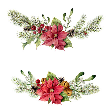 Watercolor winter floral elements on white background. Vintage style set with christmas tree branches, bells, holly, mistletoe, poinsettia flower, leaves. Flower hand painted design.