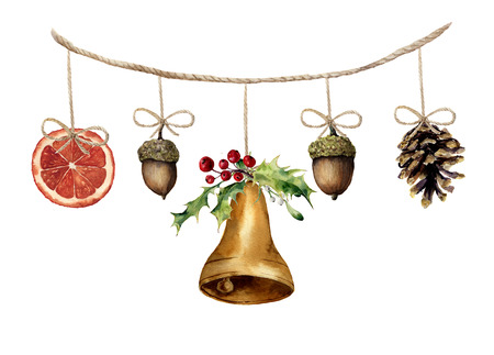 Watercolor christmas garland with bell, acorn, pine cone and orange. Party illustration for design, background or print.
