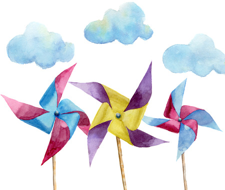 windmill toy: Watercolor paper windmills with clouds. Hand drawn vintage windmill with retro design. Illustrations isolated on white background. For design, print or background. Stock Photo