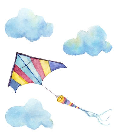 Watercolor kite air set. Hand drawn vintage kite with clouds and retro design. Illustrations isolated on white background. 免版税图像 - 65145203