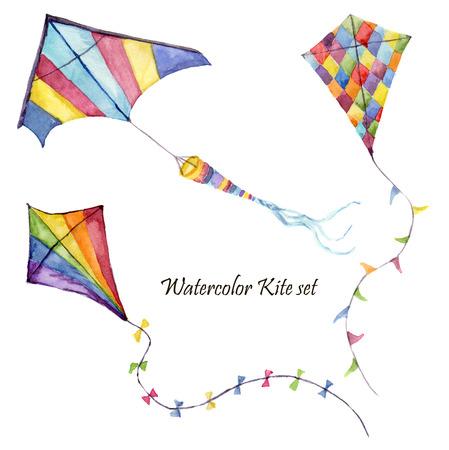 水彩の市松模様やストライプ凧セットを空気します。手には、レトロなデザインでヴィンテージのカイトが描画されます。白い背景で隔離のイラス