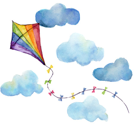Aquarel gestreepte kite lucht set. Hand getekend vintage kite met wolken en retro design. Illustraties op witte achtergrond worden geïsoleerd die.