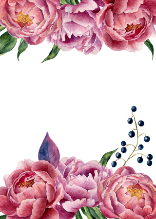 Watercolor floral wedding invitation. Hand drawn vintage frame with peony, leaves and berries. Isolated on white background. For design, card, print.