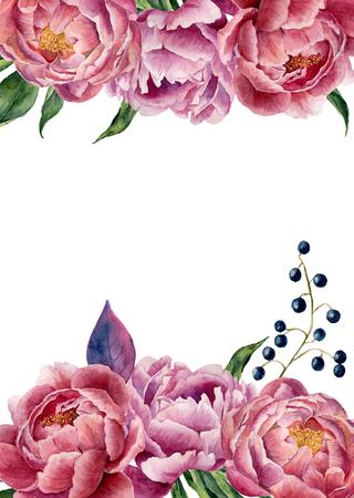 Waterverf bloemen bruiloft uitnodiging. Hand getekend vintage frame met pioen, bladeren en bessen. Geïsoleerd op een witte achtergrond. Voor ontwerp, kaart, print. Stockfoto