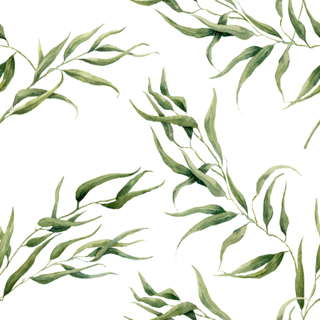 eucalyptus: Watercolor eucalyptus leaves seamless pattern on white background. Floral texture for design, textile and background Stock Photo