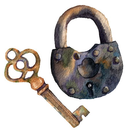 antiquarian: Watercolor retro key and padlock. Hand painted vintage illustration isolated on white background. For design, prints or background.