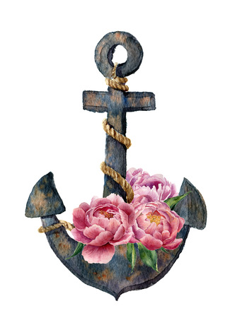 Watercolor retro anchor with rope and peony flowers. Vintage illustration isolated on white background. For design, prints or background.