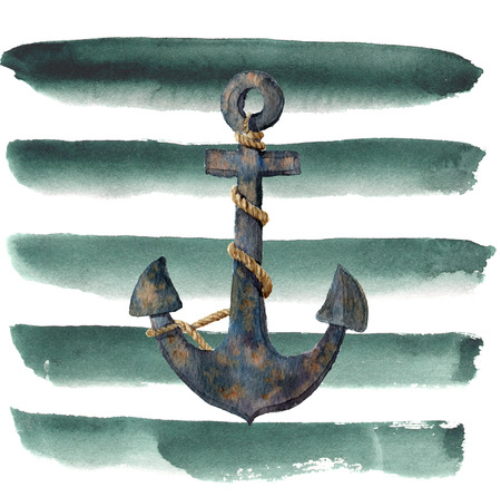 Watercolor retro anchor with rope on striped background. Vintage illustration isolated on white background. For design, prints or background. Stock Photo