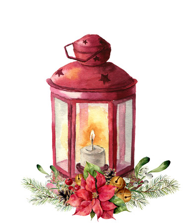 Watercolor traditional red lantern with candle and floral decor. Hand painted Christmas lantern with fir branch, poinsettia, holly, mistletoe, pine cone and bells for design, print. Party decor. Stock Photo