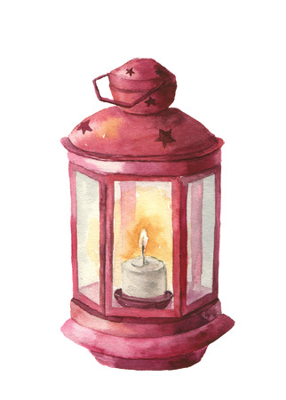 Watercolor traditional red lantern with candle. Hand painted Christmas lantern on white background for design, print. Party decor.