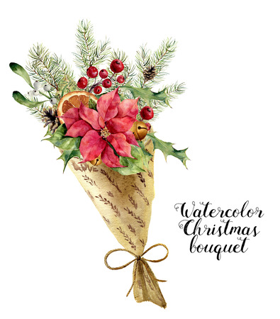Watercolor christmas bouquet. Vintage floral composition with christmas tree branches, bells, holly, mistletoe, poinsettia flower, orange and leaves in wrapping paper. Flower hand painted design.