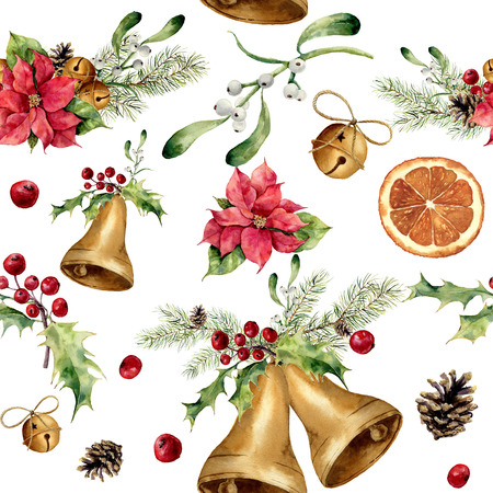 orange slice: Watercolor christmas seamless pattern with decor. New year tree ornament with bell, holly, mistletoe, poinsettia, orange slice, pine cone and bow for design, print or background. Stock Photo