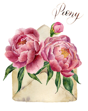 Watercolor peonies bouquet with retro envelope. Vintage mail icon with floral illustration isolated on white background. Hand painted design element for background, card and print