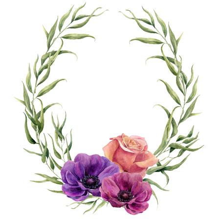 Watercolor bloemen krans met eucalyptus bladeren, roos en anemonen. Hand geschilderde bloemen grens met takken, bladeren en bloemen op een witte achtergrond. Voor het ontwerp of de achtergrond.