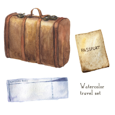 airplan: Watercolor travel set including passport, ticket, vintage leather set. Hand painted illustration isolated on white background. For design, textile and background
