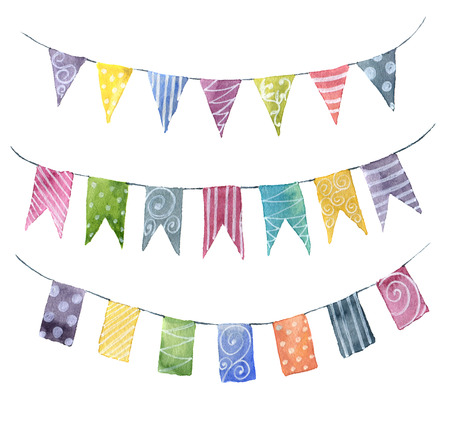 Watercolor bright color flags garlands set with ornament: stripe, polka dot, spiral. Party, kids party or wedding decor elements isolated on white background. For design, prints or background.