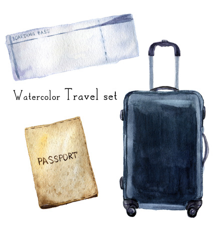 Watercolor travel set including passport, boarding pass, navi suitcase. Hand painted illustration isolated on white background. For design, textile and background 免版税图像 - 65145300