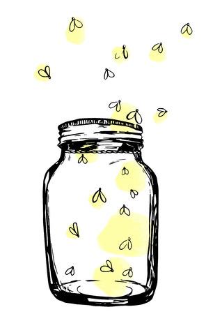 Jar with fireflies. Hand-drawn artistic illustration for design, textile, prints Foto de archivo
