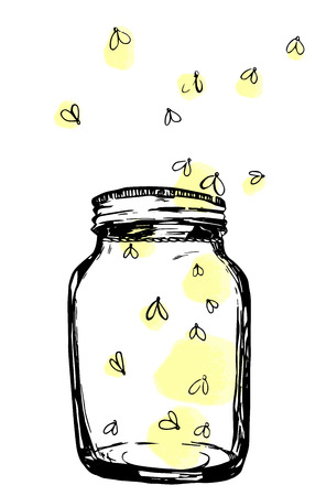 Jar with fireflies. Hand-drawn artistic illustration for design, textile, prints Archivio Fotografico