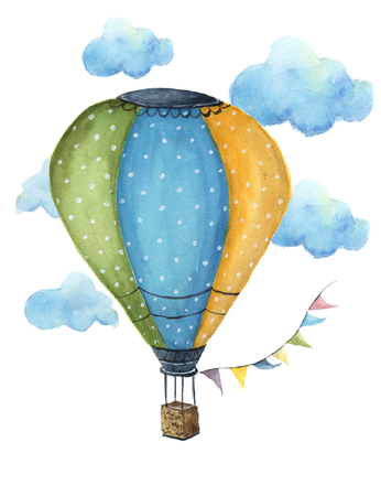 Watercolor hot air balloon set. Hand drawn vintage air balloons with flags garlands, clouds, polka dot pattern and retro design. Illustrations isolated on white background. For design, print and background Foto de archivo