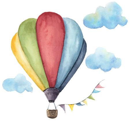 Aquarel hete luchtballon ingesteld. Hand getekend vintage lucht ballonnen met vlaggen slingers en retro design. Illustraties op witte achtergrond worden geïsoleerd die