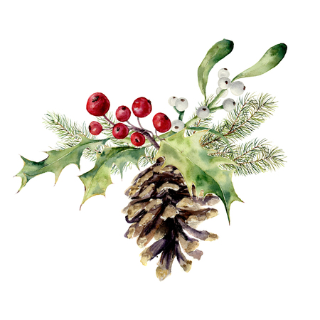 Watercolor fir cone with christmas decor. Pine cone with christmas tree branch, holly and mistletoe on white background. Party element for design, print. Фото со стока - 65145307