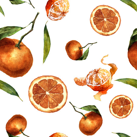 mandarins: Watercolor seamless pattern with mandarins and leaves. Citrus ornament on white background for design, fabric or print Stock Photo