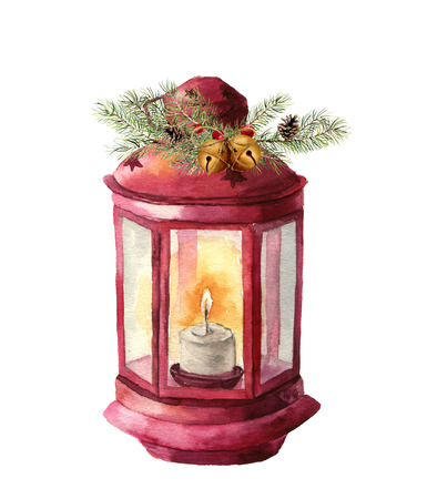 Watercolor traditional lantern with candle and floral decor. Hand painted Christmas lantern with fir branch, holly, mistletoe, pine cone and bells for design, print. Party decor.