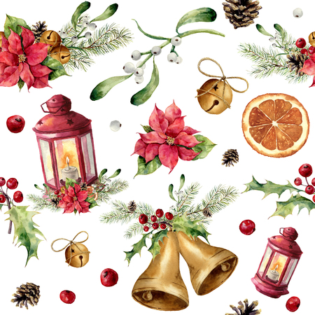 orange slice: Watercolor christmas seamless pattern with decor and lantern. New year tree ornament with lantern, bell, holly, mistletoe, poinsettia, orange slice, pine cone and bow for design, print or background.