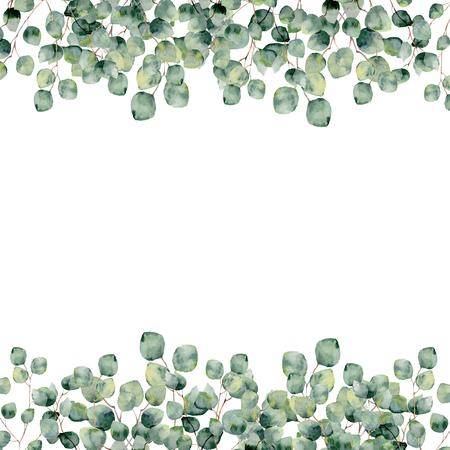 Watercolor frame with eucalyptus silver dollar. Botanical design.