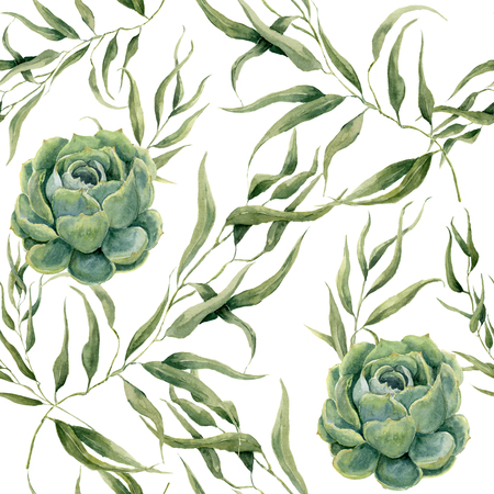 Watercolor succulents and eucalyptus leaves seamless pattern on white background. Floral texture for design, textile and background 免版税图像 - 65144029