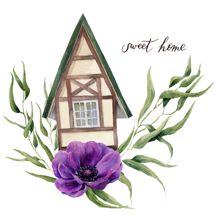 Sweet home watercolor illustration. Watercolor house in Alpine style with eucalyptus leaves and anemone flowers isolated on white background. Hand painted element. For design, textile and background